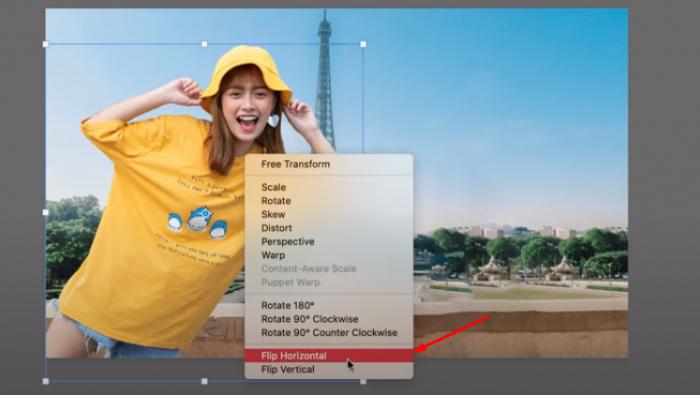 Và có thể ghép ảnh bạn vào, nếu muốn đổi hướng ảnh thì bạn chọn vào ảnh và Click chuột phải chọn Flip Horizontal, ảnh sẽ tự động đổi hướng