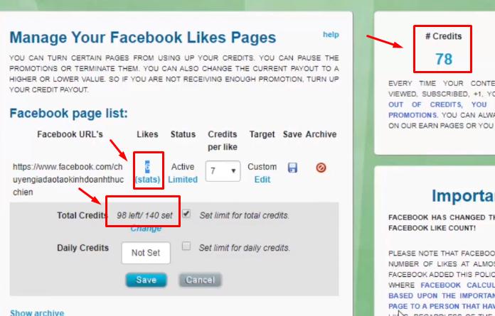 Chỉ số khi kích hoạt chạy và bạn có thể vào trang fanpage để kiểm tra xem có người like chưa.