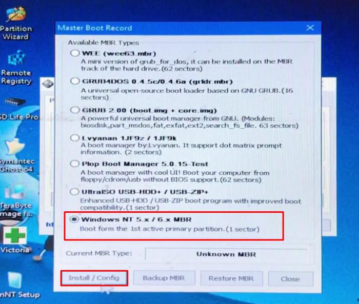 Bạn chọn Windows NT 5.x / 6.x MBR và tiếp tục bạn chọn Install