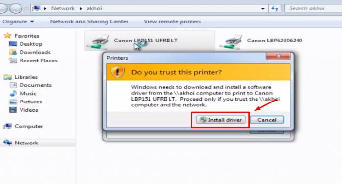 Click vào máy in và chọn Install driver để cài đặt driver