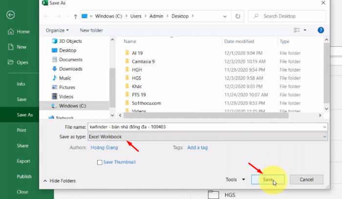 Chọn nơi lưu và trỏ chuột chọn Excel workbook và Save