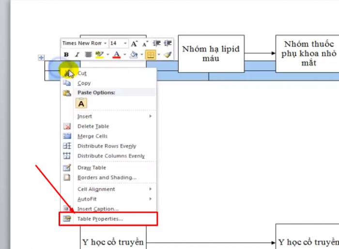 Click vào ô Table và click chuột phải chọn Table properties > chọn Around > chọn Positioning
