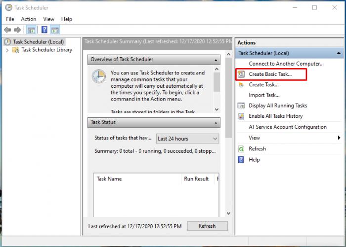Tích đúp 2 lần chuột để vào cửa sổ Create Basic Task…