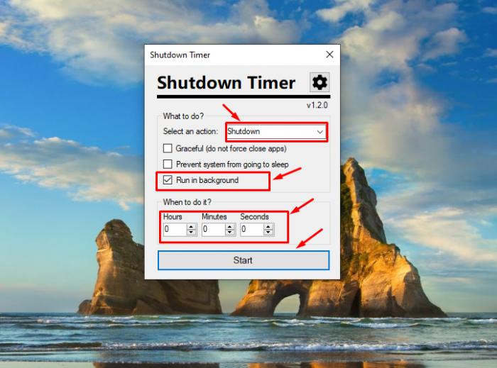 Đầu tiên bạn chọn Shutdown, tiếp đến là bạn click chọn Run in Background và nhập thời gian hẹn giờ máy tính và bấm Start