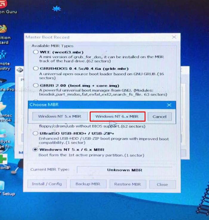 Hiện lên bảng bạn bấm chọn Windows NT 6.x MBR