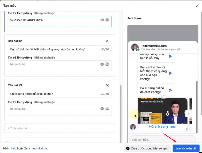 Tạo mẫu tin nhắn để gửi cho khách hàng tự động