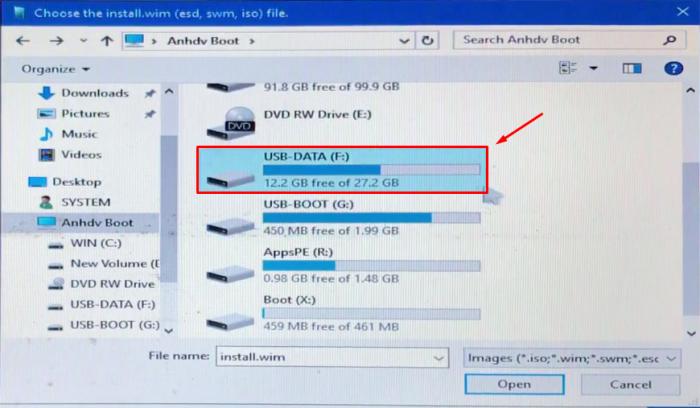 Chọn ổ đĩa USB-DATA(D:)
