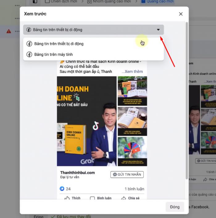 Bấm xem mẫu quảng cáo trên thiết bị di động và máy tính khi bạn đã hoàn tất hết bạn nhấn nút Đăng