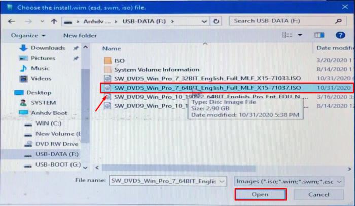 Chọn SW_DVD5_Win_Pro_7_64 bit