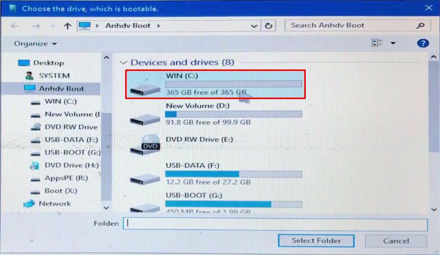 Bạn chọn ổ đĩa C