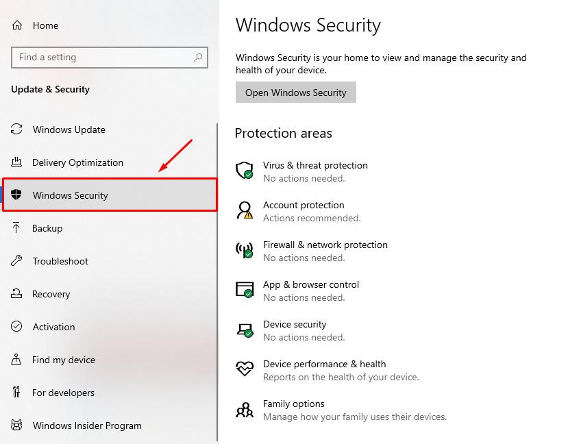 Chọn Windows Security.