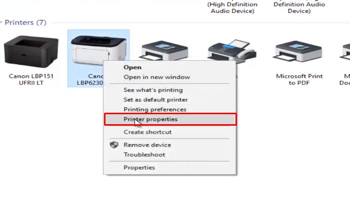 Chọn Printer properties