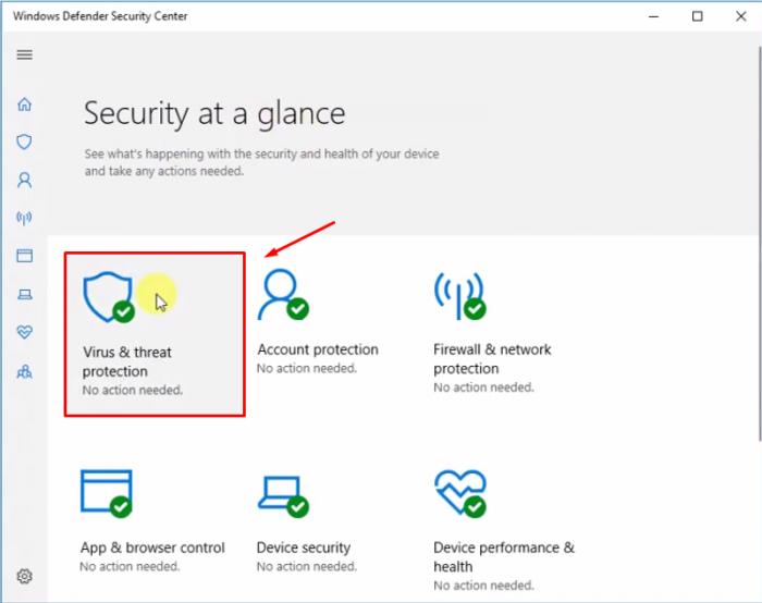 Chọn Virus & threat protection ở cửa sổ Windows Defender Security Center.