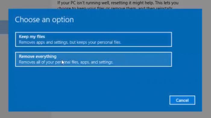 Bạn bấm chọn 1 cách thức để reset máy tính.