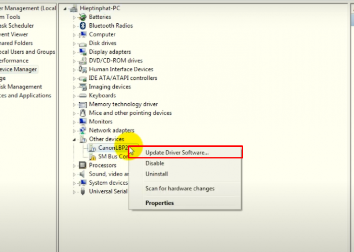 Chọn Update Driver Software...