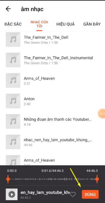 Chọn nhạc ưa thích để ghép vào video