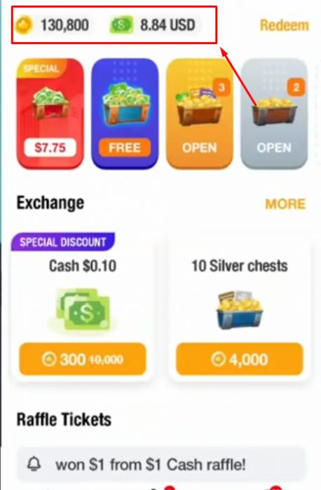 Bấm vào Vàng và USD để đổi tiền