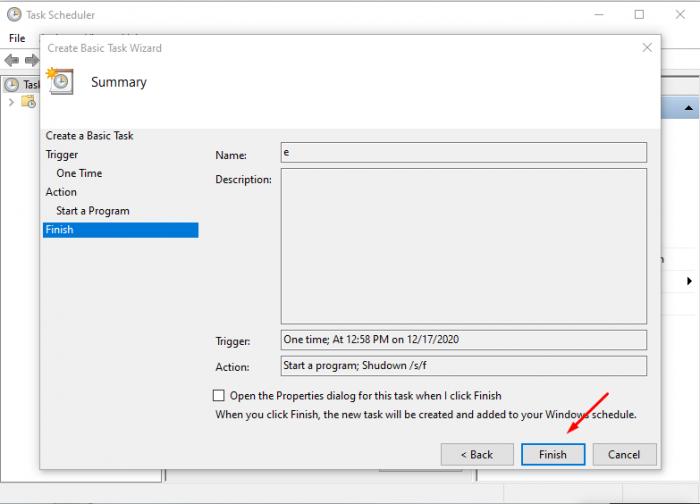 Cài đặt hẹn giờ ở cửa sổ Task Scheduler ở đầu tiên