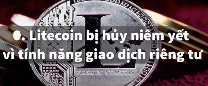 Litecoin bị hủy niêm yết vì tính năng giao dịch riêng tư
