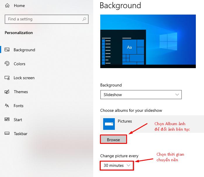 Chọn Browse và thời gian để chuyển ảnh nền máy tính.