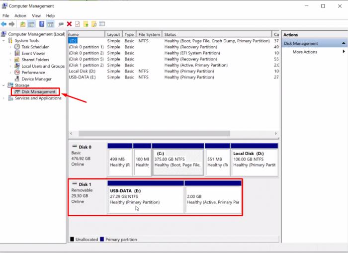 Bấm chọn Disk Management và xem nó tạo cho mình 2 cái Phân vùng chưa.