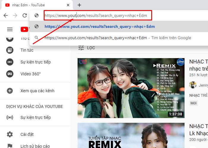 Bạn bấm vào thanh tìm kiếm và xóa chứ Youtube.com/ thành Yout.com/.